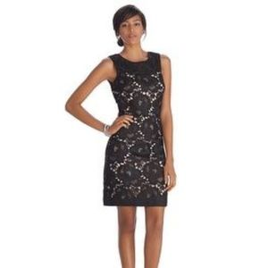 STARLET SLEEVELESS LACE OVERLAY SHIFT DRESS